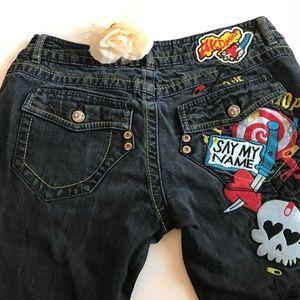 Akademiks Mens Street Wear Skull Graphic Jeans 32